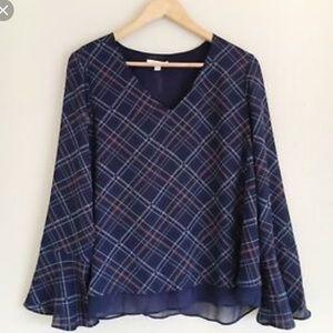 Lauren Conrad Blue Plaid Lace Bell Sleeve Top XXL